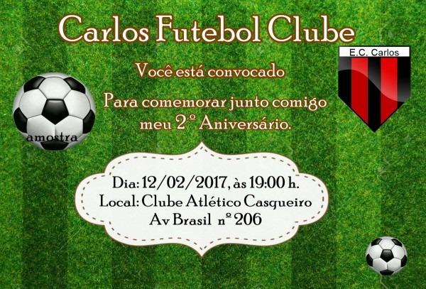Convite futebol no elo7