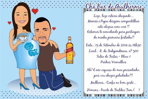 Convite impresso com caricatura chá de bebê fralda
