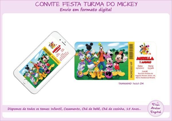 Convite ingresso turma do mickey no elo7