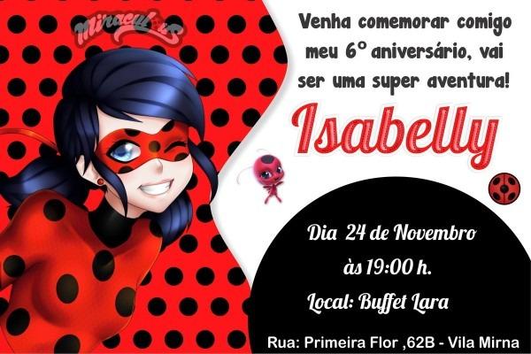 Convite ladybug no elo7