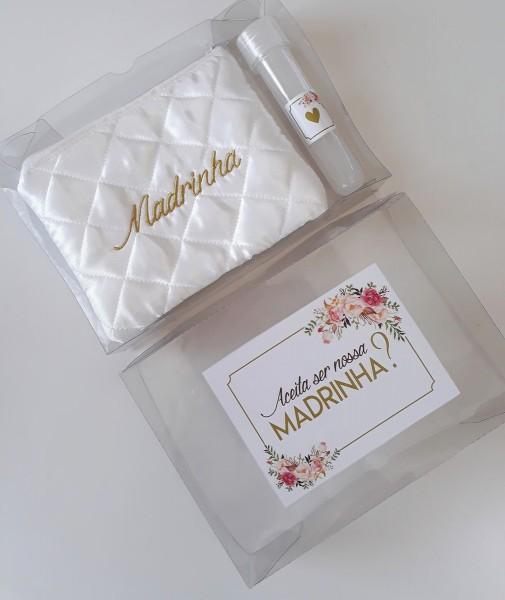 Convite madrinha casamento kit com caixa e necessaire no elo7