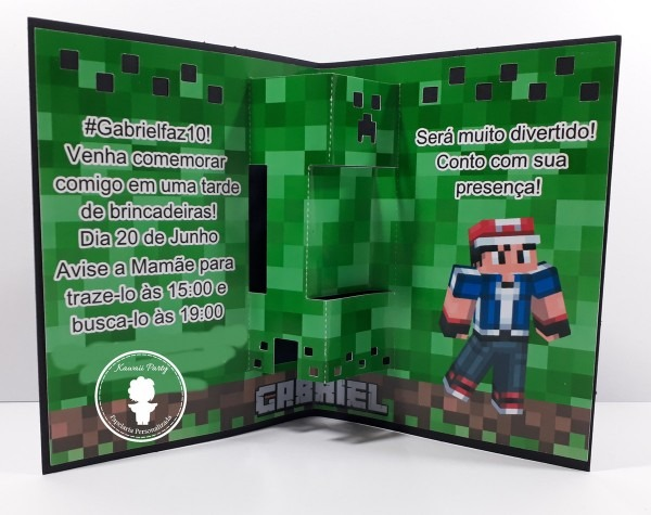 Convite minecraft 3d no elo7