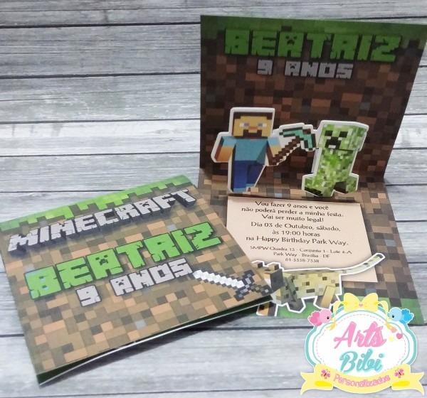 Convite minecraft popup 3d no elo7