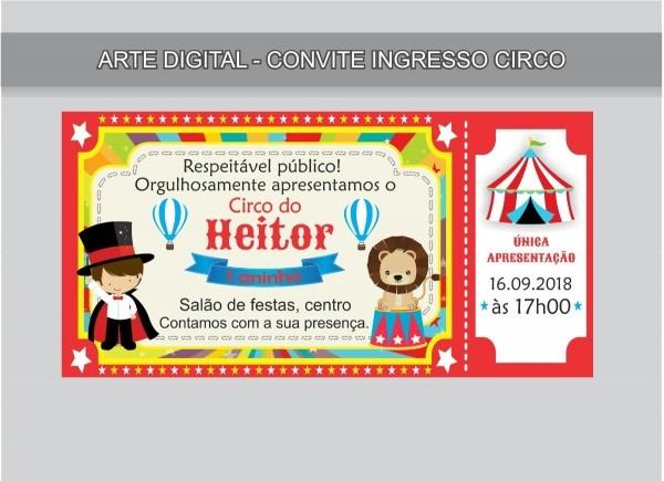 Convite para aniversário tema circo