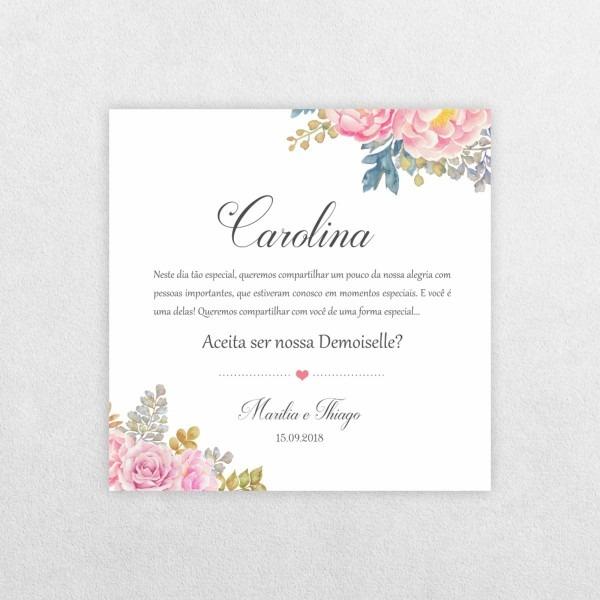 Convite para demoiselles   damas de honra (arte digital) no elo7