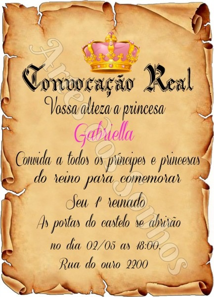Convite pergaminho coroa realeza no elo7