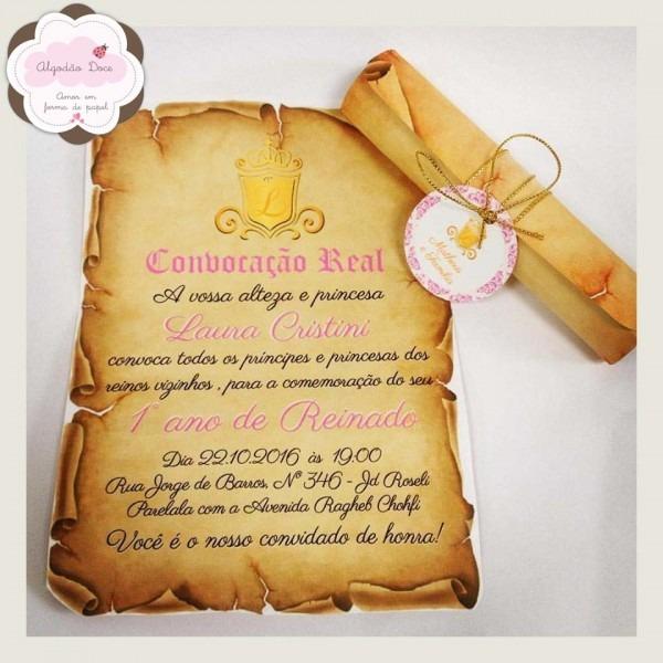 Convite pergaminho princesa real no elo7