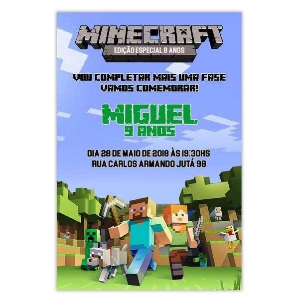 Convite personalizado minecraft 15x10