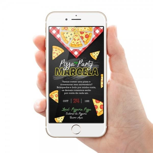 Convite pizza arte digital para whatsapp