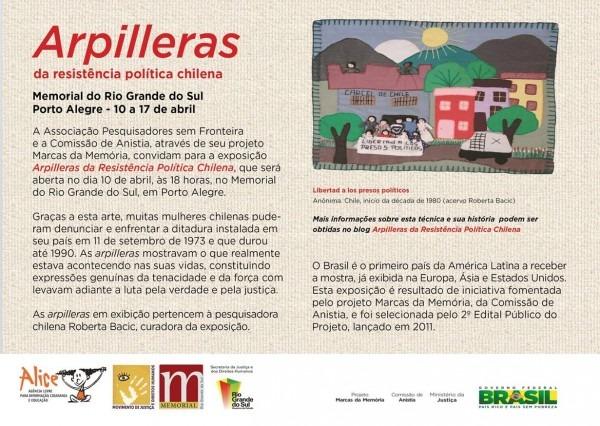 Marcha mundial das mulheres rs  convite  arpilleras da resistência