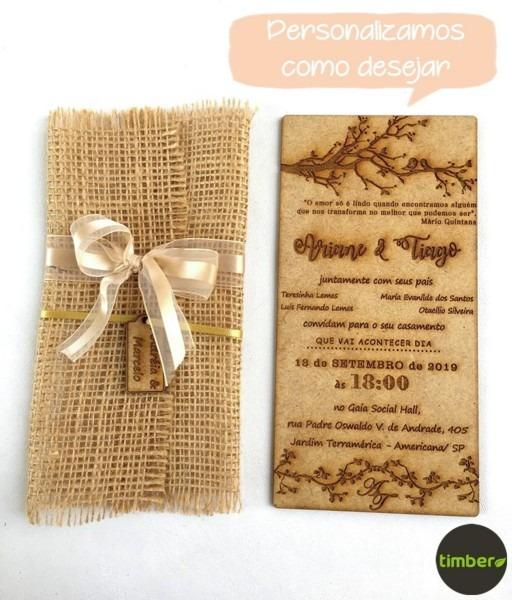 Convite rÚstico de casamento em madeira mdf no elo7