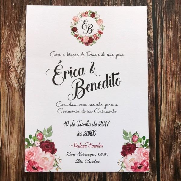 Convite de casamento rústico floral marsala (bordo) r01 no elo7