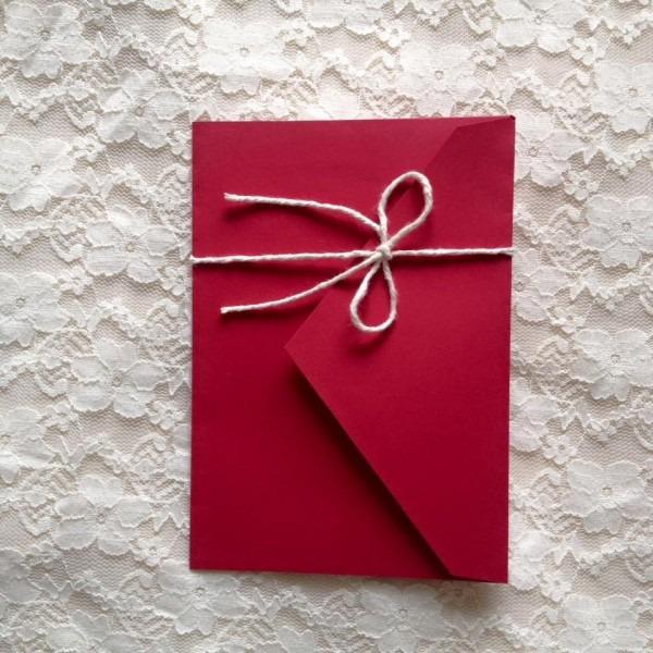 Convite simples com envelope no elo7
