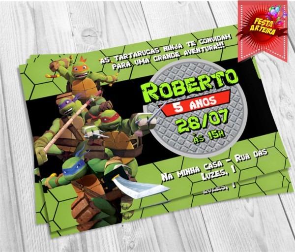 Convite tartarugas ninja no elo7