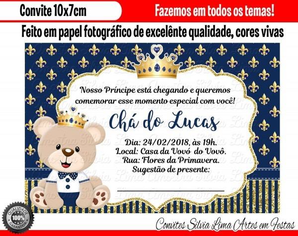 Convite ursinho príncipe chá de bebê no elo7