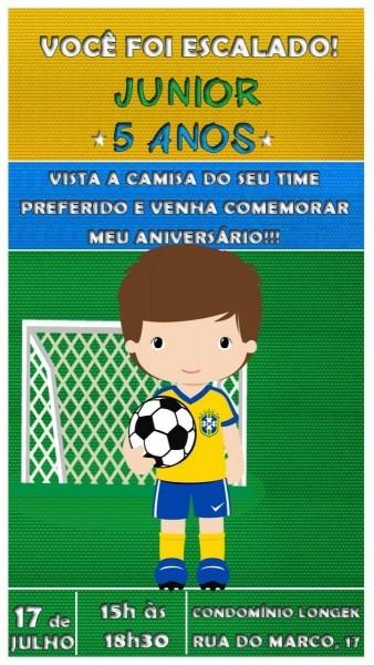 Convite virtual animado tema futebol ( brasil ) md3