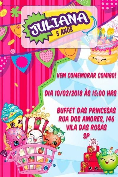 Convite virtual digital festa aniversário infantil shopkins