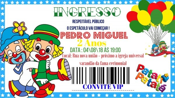 Convite virtual personalizado patati patatá no elo7