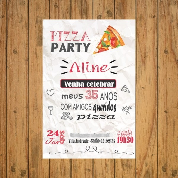 Convite virtual pizza party no elo7