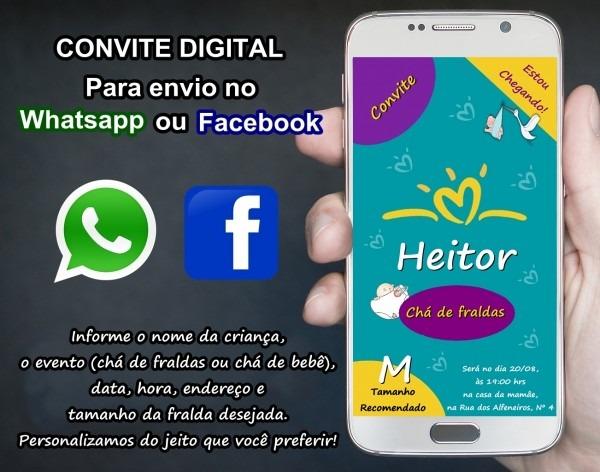Convite digital chá de fralda no elo7