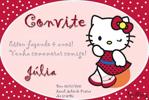 Charme de convite  convite hello kitty