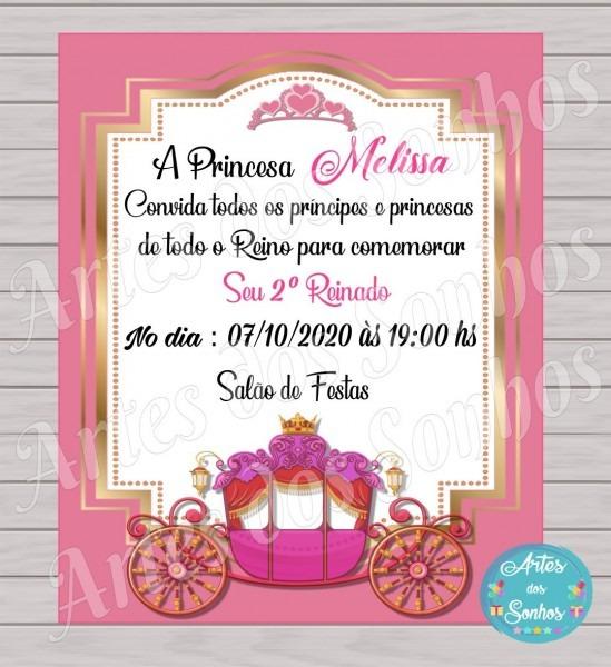 Convites carruagem realeza rosa e dourado