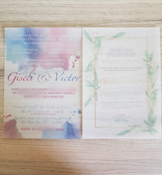 Convites de casamento personalizado  50 unidades