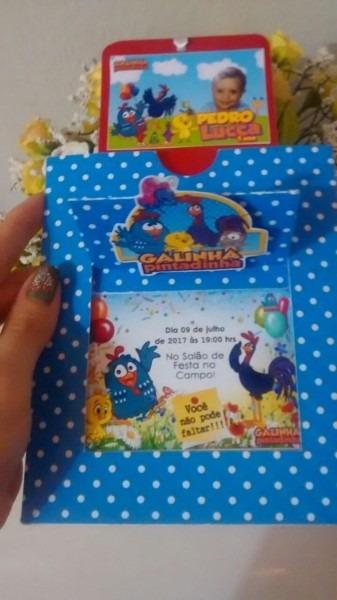 Convites galinha pintadinha articulado 30 und