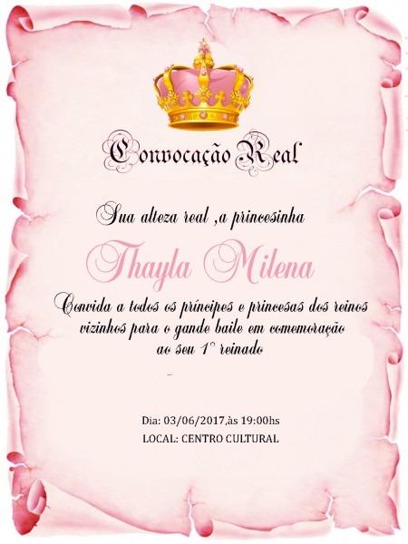 Convites pergaminho princesa ,coroa no elo7
