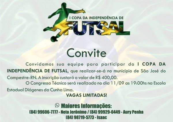 Wesportes net  convite para a i copa da independência de futsal