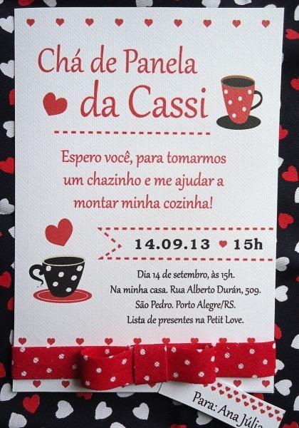 Convite chá de panela poá vermelho
