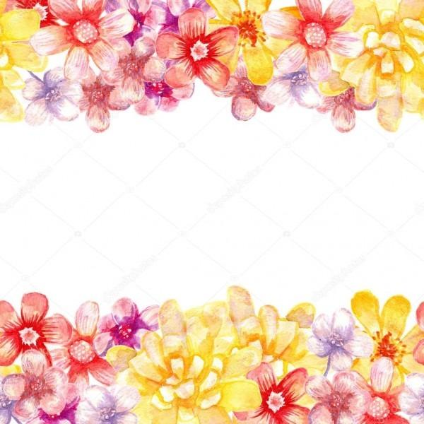 Bordas de flores em aquarela — stock photo © oko_elena  102498988