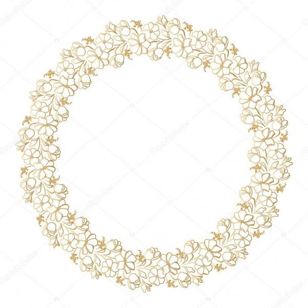 Moldura dourada redonda com flores  elemento decorativo para o