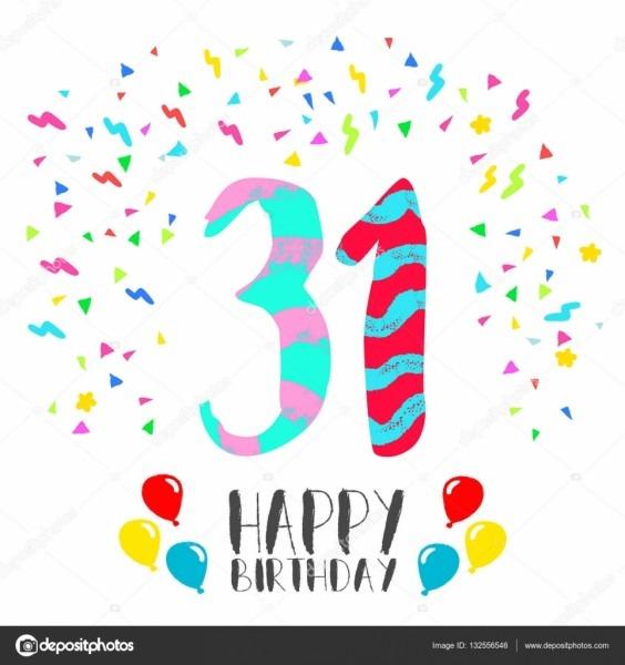 Feliz aniversário para o cartão de convite de festa de 31 anos