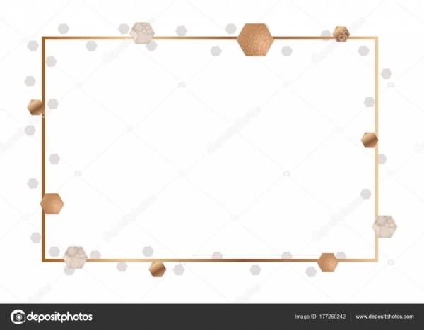 Moldura dourada para convite ou folheto, banner, mármore de fundo