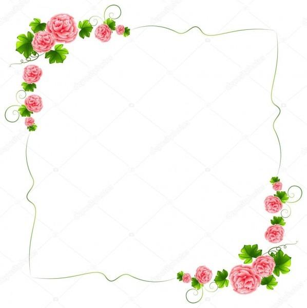 Uma borda com flores cor de rosa cravos — vetores de stock