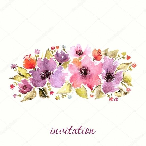 Convite floral aquarela — vetores de stock © oaurea  63484655