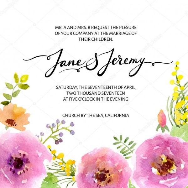 Convite de casamento floral aquarela — vetores de stock