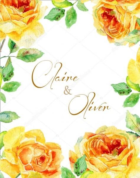 Cartão do convite  rosas amarelas em aquarela  cartão floral
