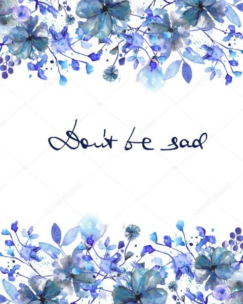 Borda do quadro, modelo de cartão postal com flores azuis escuras
