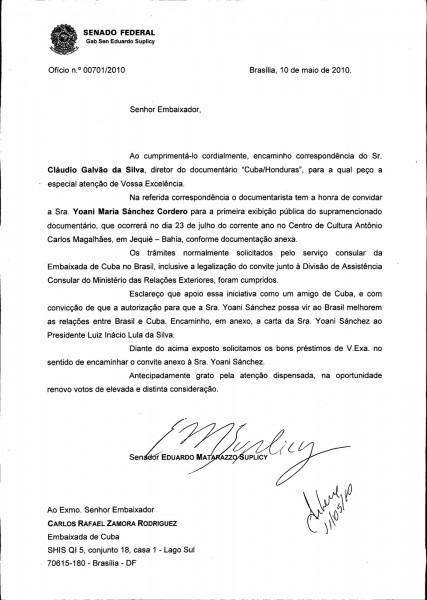 Carta convite para brasil
