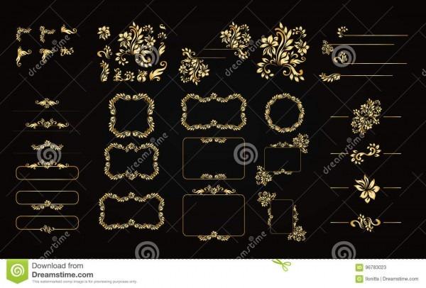 Elementos caligráficos dourados do projeto do vetor no fundo preto