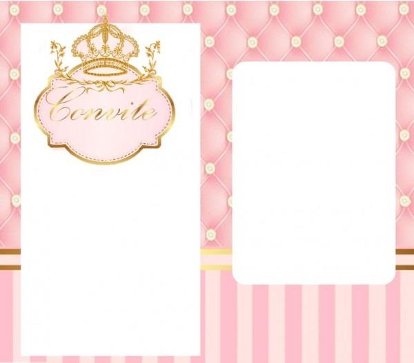 Kit digital para festa infantil tema realeza cores rosa bebê e