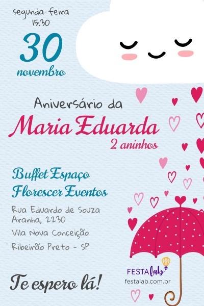 Convite de aniversário infantil chuva de amor