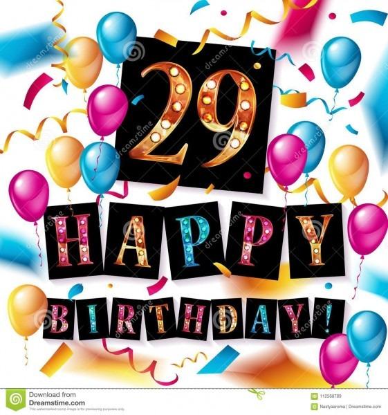 Feliz aniversario 29 anos de aniversário ilustração stock