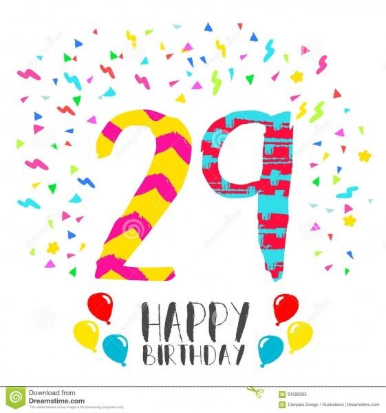 Feliz aniversario para o cartão do convite do partido de 29 anos
