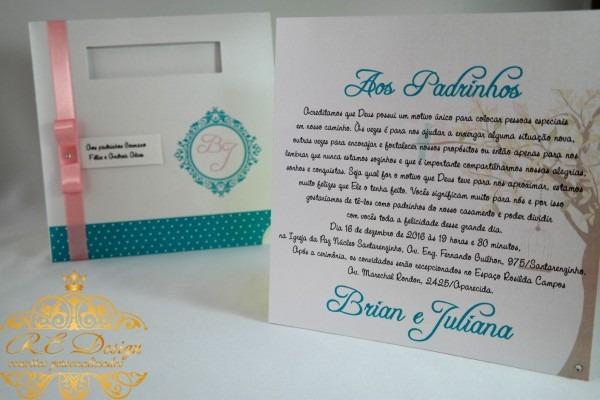 Galeria convite de casamento para os pais e padrinhos no elo7 r