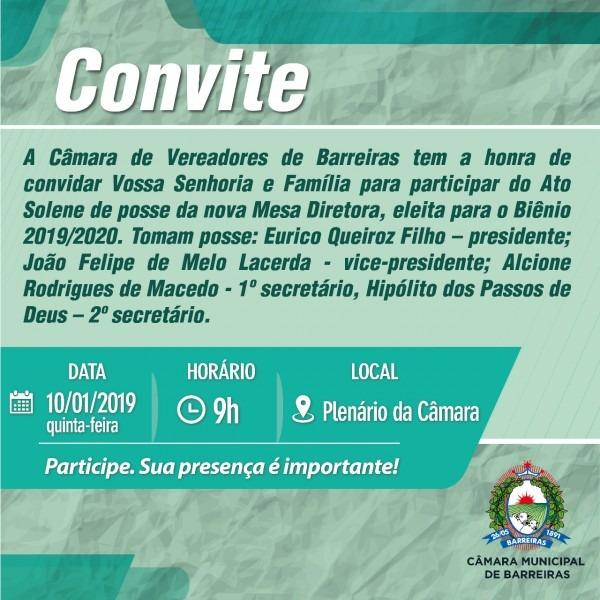Convite  posse mesa diretora da cÂmara de vereadores de barreiras