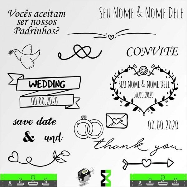 Kit carimbos de casamento decorar e criar convites