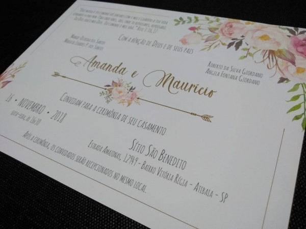 Lindo convite de casamento sem envelope 50 unid muito barato